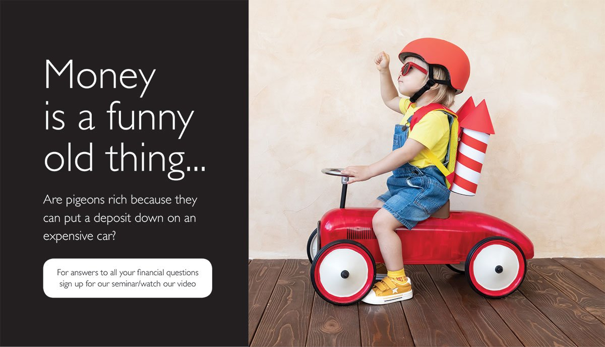 Image of a child sitting on a toy car. He's wearing a helmet and has a fake rocket strapped to his back. Text reads: Money is a funny old thing. Are pigeons rich because they can put a deposit down on an expensive car? Enter our joke competition here.