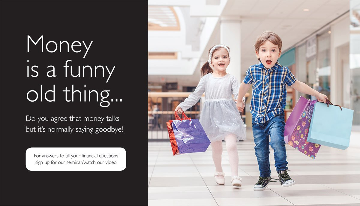 Image of a young boy and girl running through a shopping centre carrying shopping bags. Text reads: Money is a funny old thing. Do you agree that money talks, but it's normally saying goodbye? Enter our joke competition here.