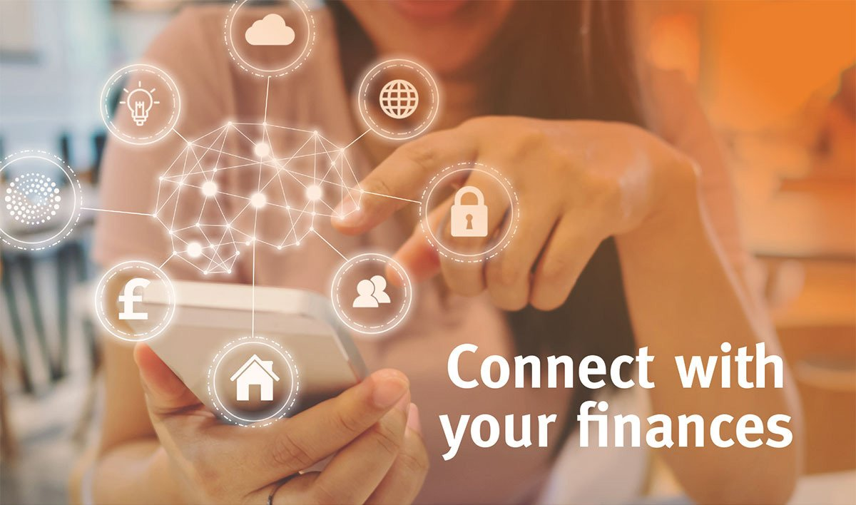 Image shows a person holding a mobile phone with the words 'connect with your finances'