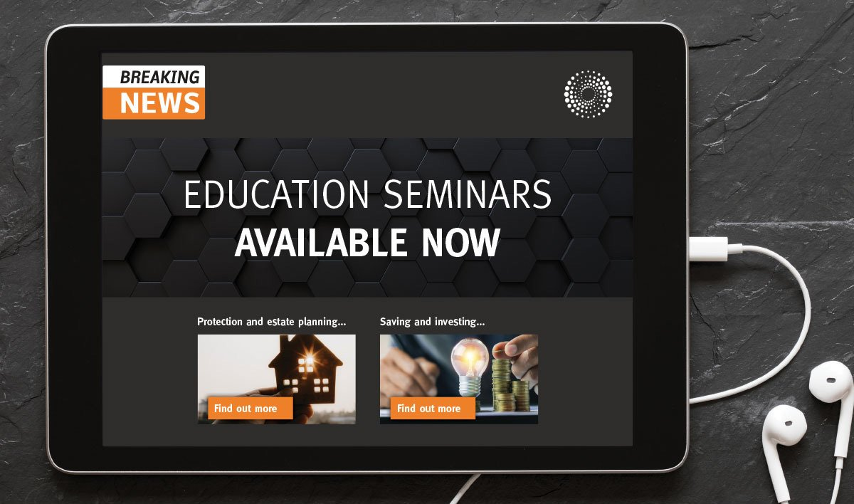 Image shows an ipad with the text 'breaking news, education seminars available now'