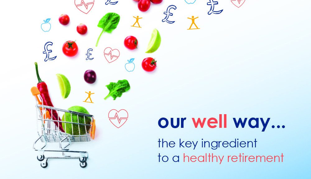 Image of a small shopping cart with fruit and vegetables. Text reads: Our well way. The key ingredient to a healthy retirement.