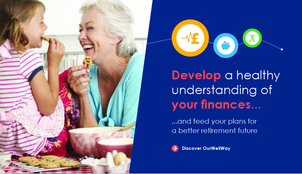 image of older woman eating cookies with a child, they are both laughing. Text reads: develop a healthy understanding of your finances and feed your plans for a better retirement future. Click here to discover 'Our Well Way'