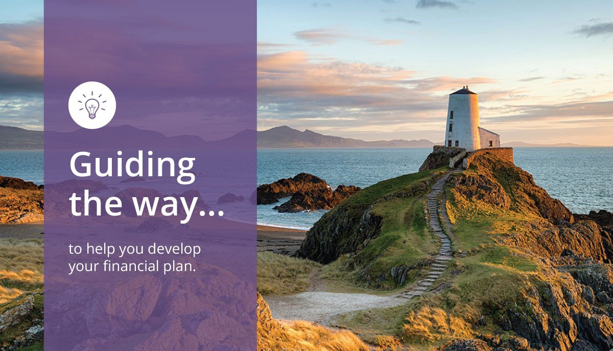 Image of a lighthouse atop a hill next to the ocean. Text reads: Guiding the way... to help you discover your financial plan.