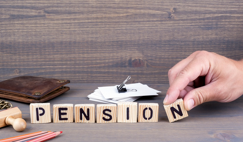 pension spelt out with building blocks