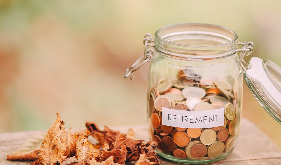 jar of money labeled retirement