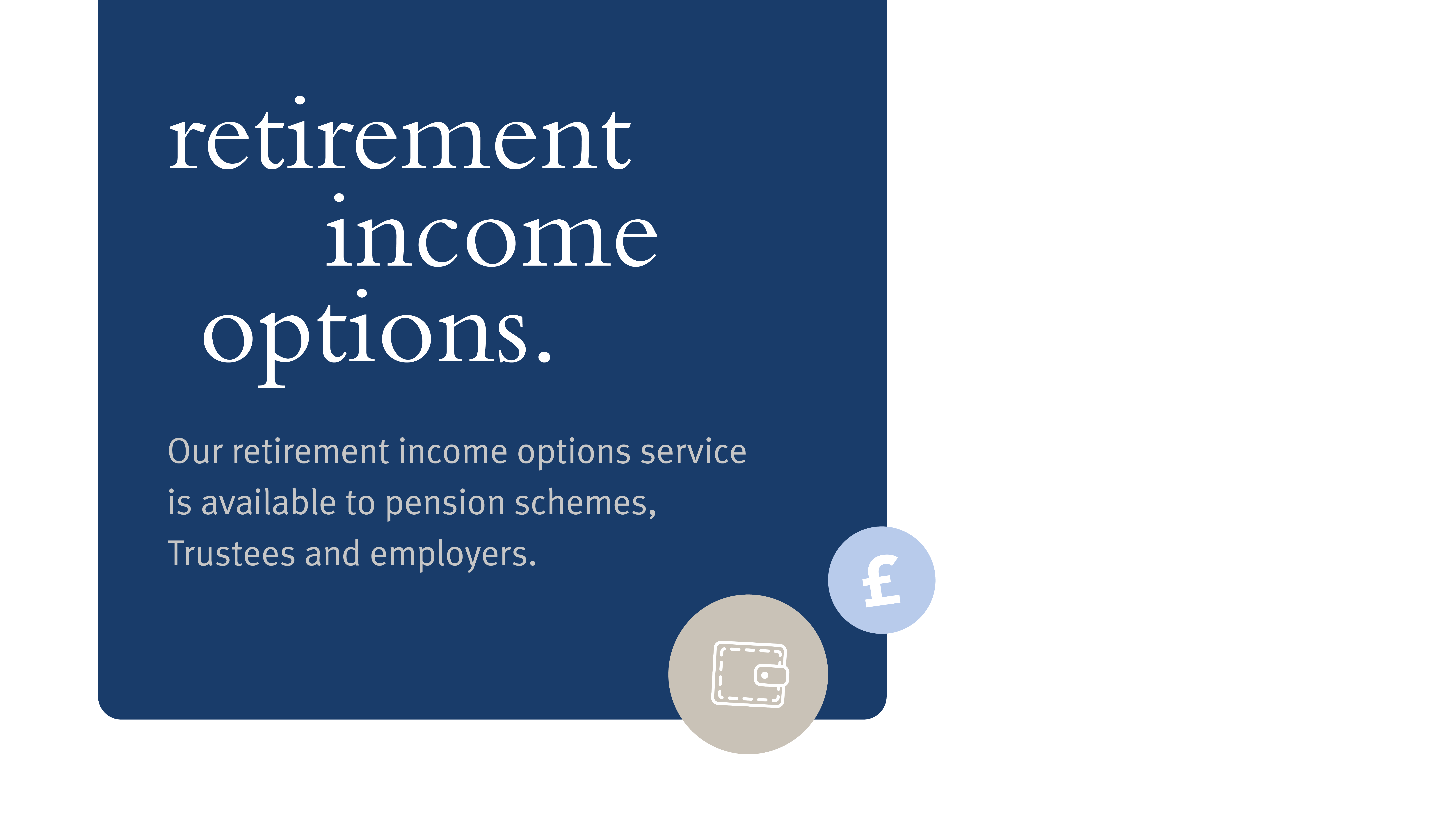 Image reads: Retirement income options. Our retirement income options service is available to pension schemes, Trustees and employers.